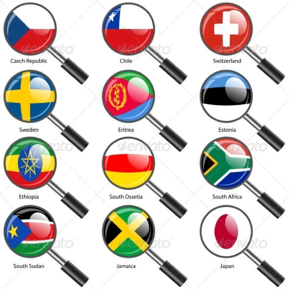 GraphicRiver Flags of World Sovereign States Magnifying Glass 7407433