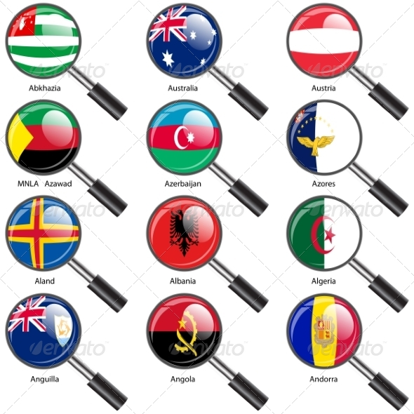 GraphicRiver Flags of World Sovereign States Magnifying Glass 7407443