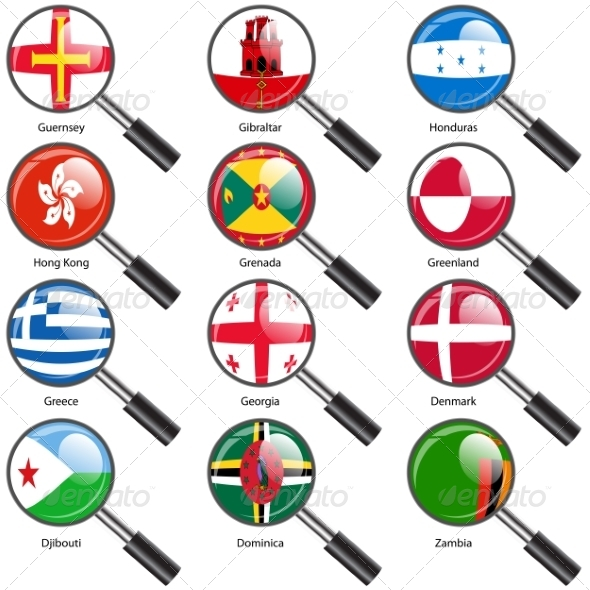 GraphicRiver Flags of World Sovereign States Magnifying Glass 7407532
