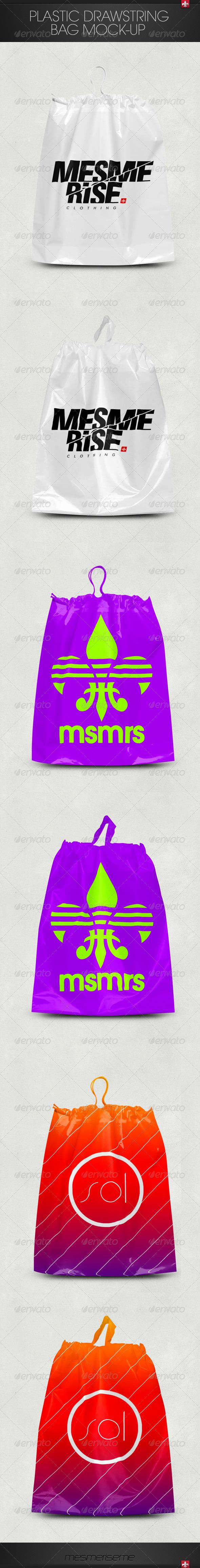 GraphicRiver Plastic Drawstring Bag Mock-up 7407538