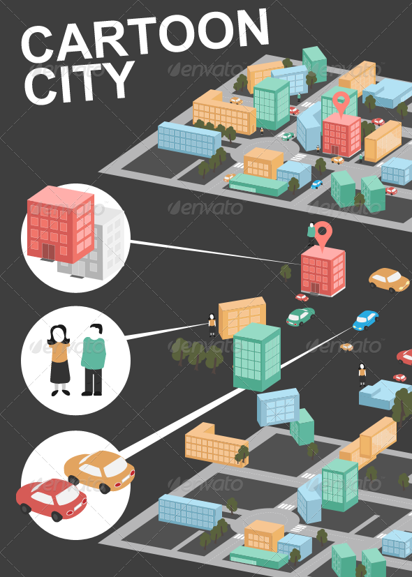 GraphicRiver Fancy Cartoon City Traffic Map 7346992