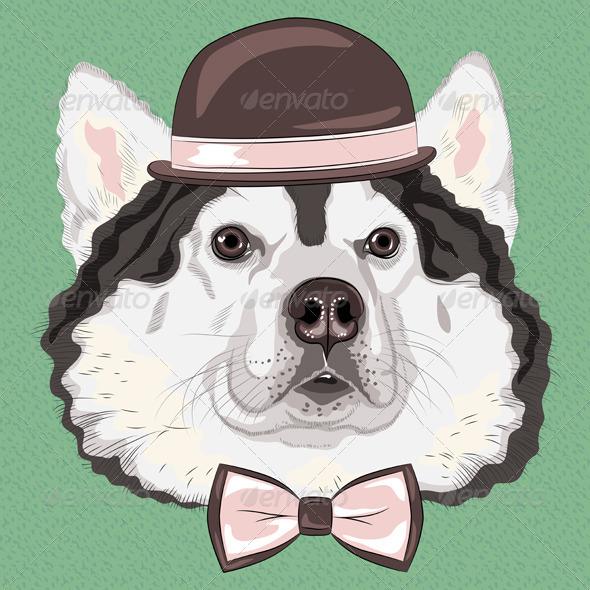 GraphicRiver Hipster Dog Alaskan Malamute 7408373