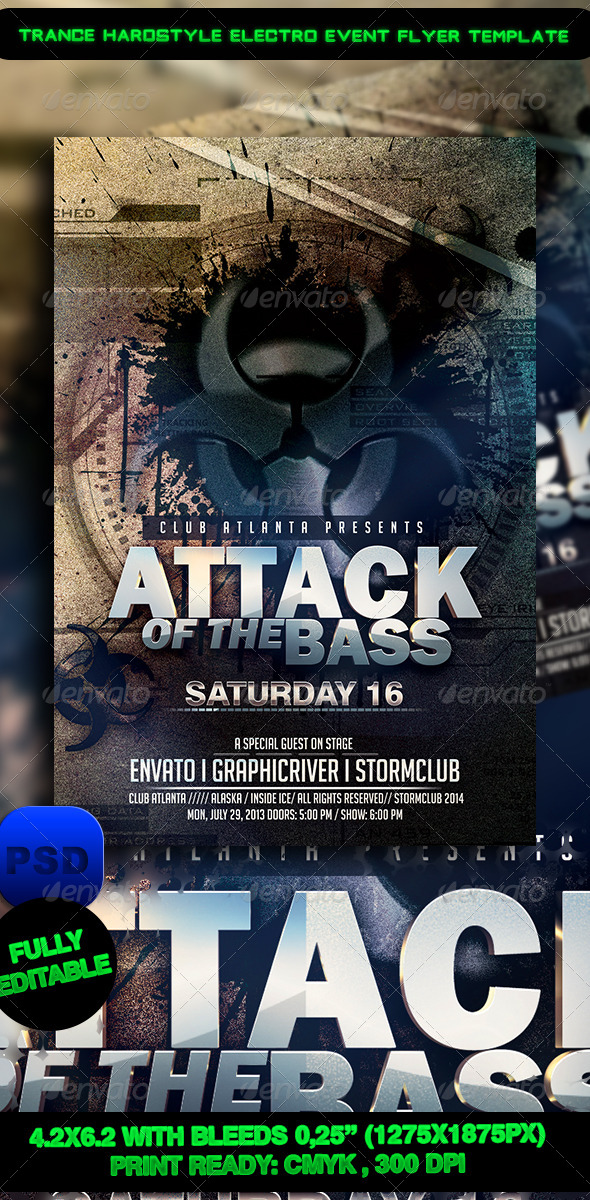 GraphicRiver Trance Hardstyle Electro Event Flyer Template 7408616