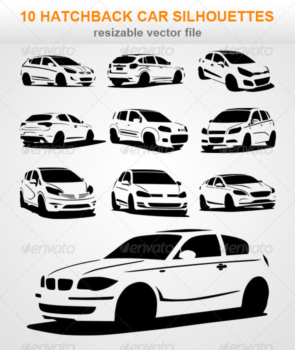 GraphicRiver 10 Hatchback Car Silhouettes 7408736
