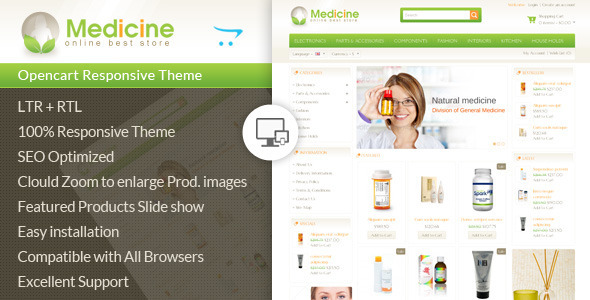 ThemeForest Medicine Opencart Responsive Template 7408737