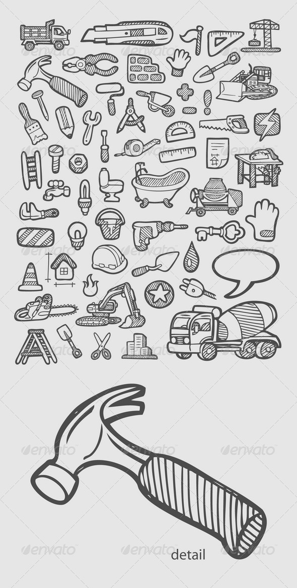 GraphicRiver Construction Icons Sketch 7408746