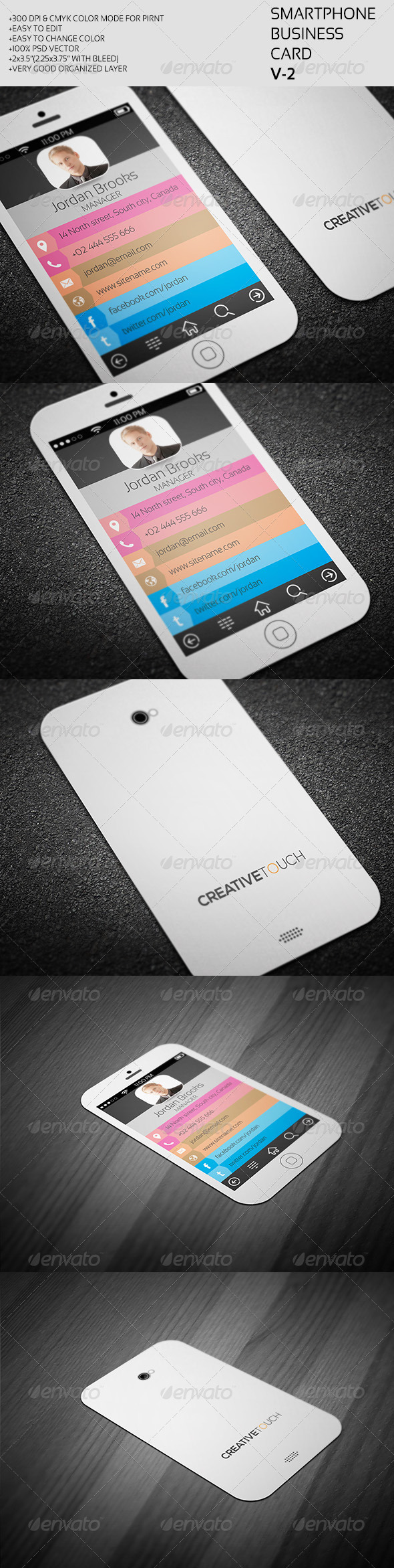 GraphicRiver Smartphone Business Card V-2 7383951