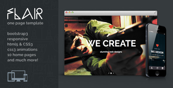 ThemeForest Flair One Page Responsive Html5 Template 7409369