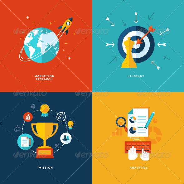 GraphicRiver Flat Design Concept Icons for Business 7352393