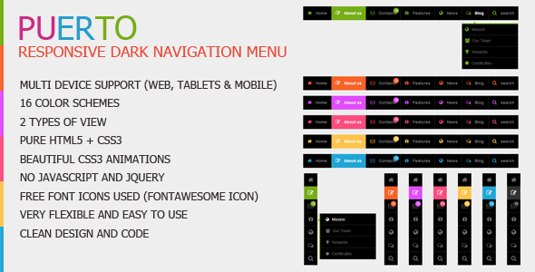 CodeCanyon Puerto Responsive Dark Navigation Menu 7409742