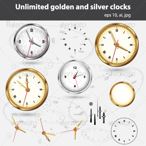 GraphicRiver Unlimited Silver and Golden Clocks and Elements 7409935