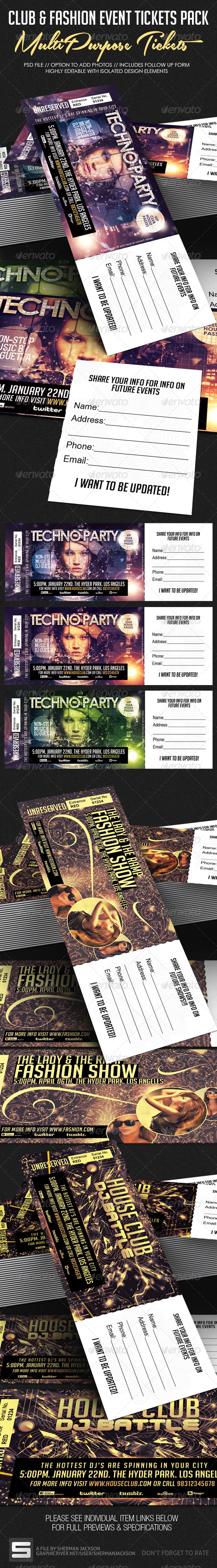 GraphicRiver Club Fashion & Event Tickets Bundle Pack 7410259