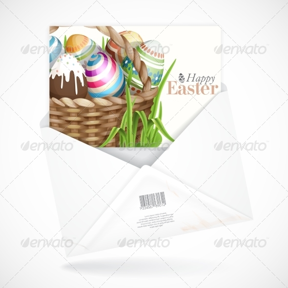 GraphicRiver Easter Background with a Basket 7410302