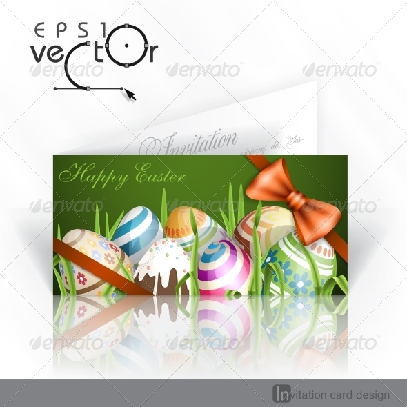 GraphicRiver Easter Background with Eggs In Grass 7410353
