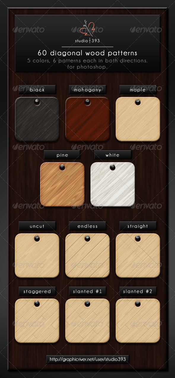 GraphicRiver 60 Seamless Diagonal Wood Patterns for Photoshop 7410368