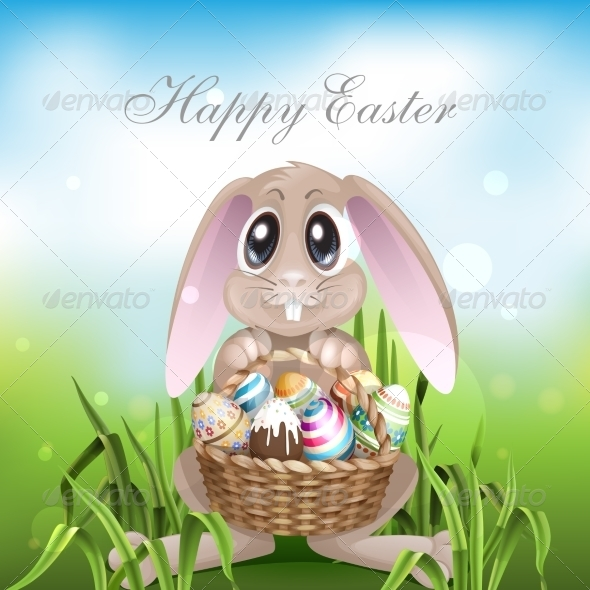 GraphicRiver The Easter Bunny with a Basket Full 7410383