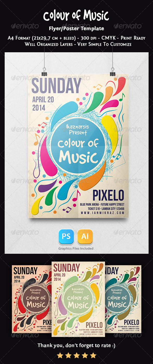 GraphicRiver Colour of Music Flyer Template 7410389
