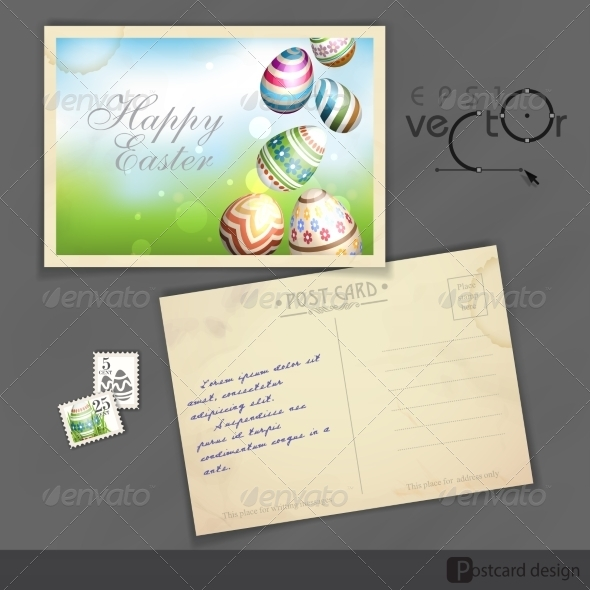 GraphicRiver Easter Background with Eggs in Grass 7410417