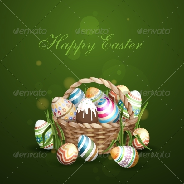 GraphicRiver Easter Background with a Basket 7410607