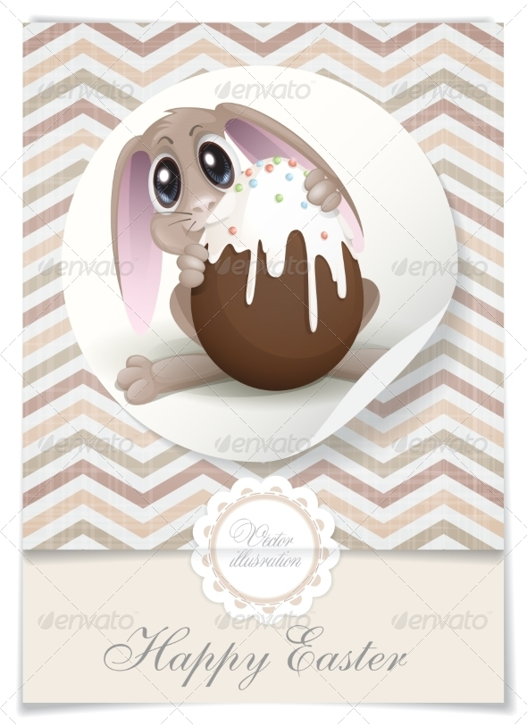 GraphicRiver Easter Bunny with Chocolate Egg 7410652