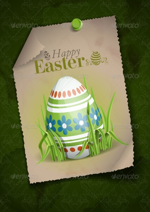 GraphicRiver Easter Background with Eggs in Grass 7410735