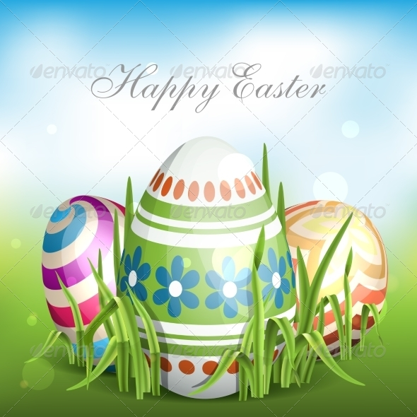 GraphicRiver Easter Background with Eggs in Grass 7410765