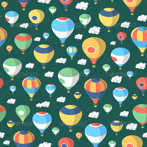 GraphicRiver Hot Air Balloons Seamless Pattern 7398349