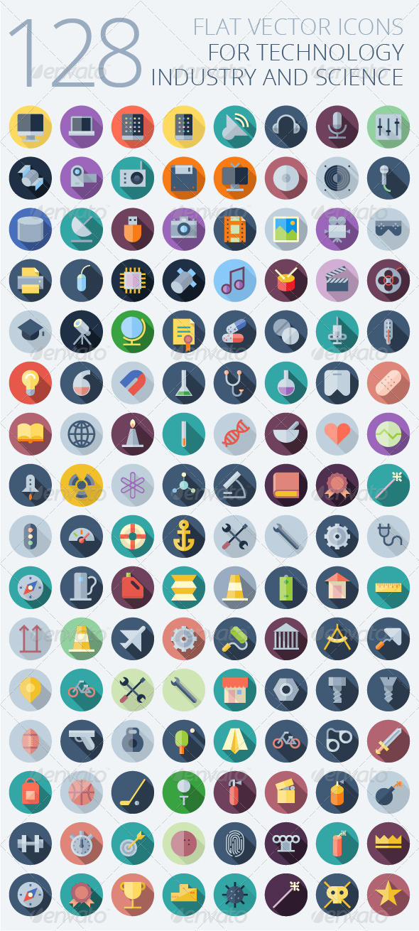 GraphicRiver Flat Vector Icons for Technology 7411868