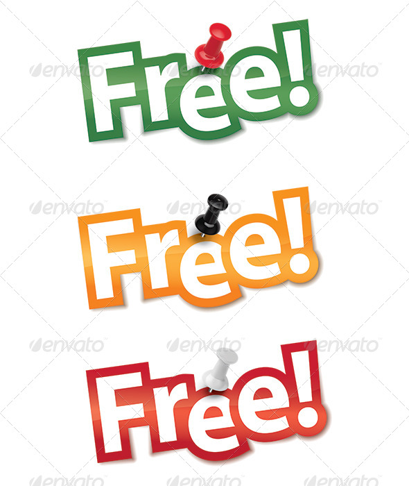GraphicRiver Sticker set Free fixed by a thumbtack 7412201
