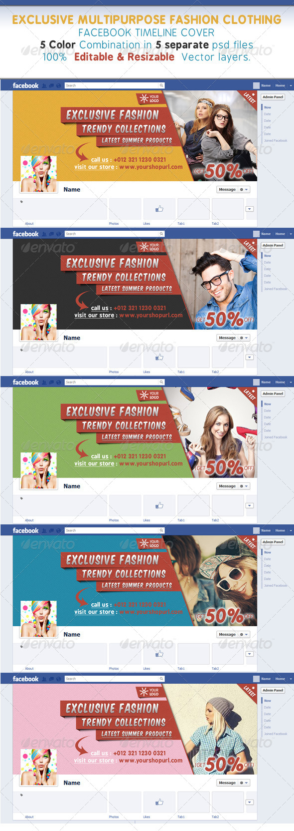 GraphicRiver Glamour & Fashion Clothing Facebook Timeline Cover 7412223