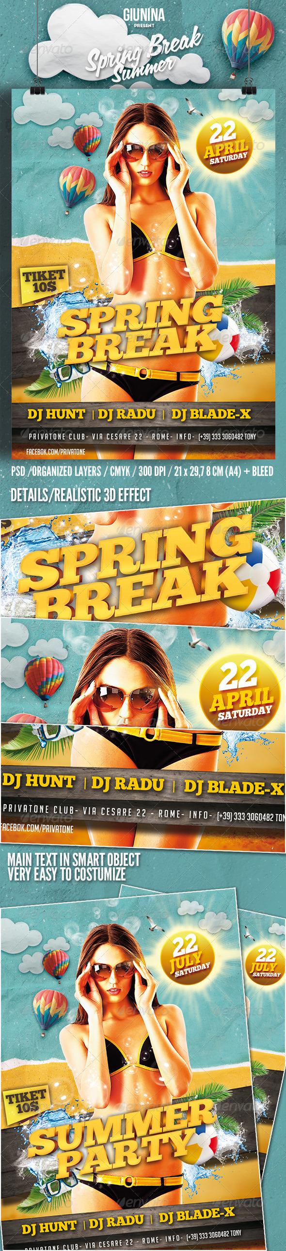 GraphicRiver Spring Break Summer Flyer poster 7392757