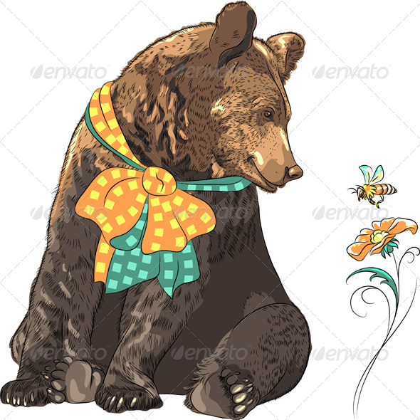 GraphicRiver Vector Funny Hipster Bear Watching Bee 7412521