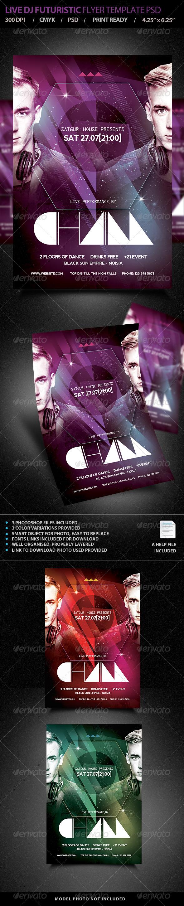 GraphicRiver Live DJ Futuristic Flyer Template PSD 7412609