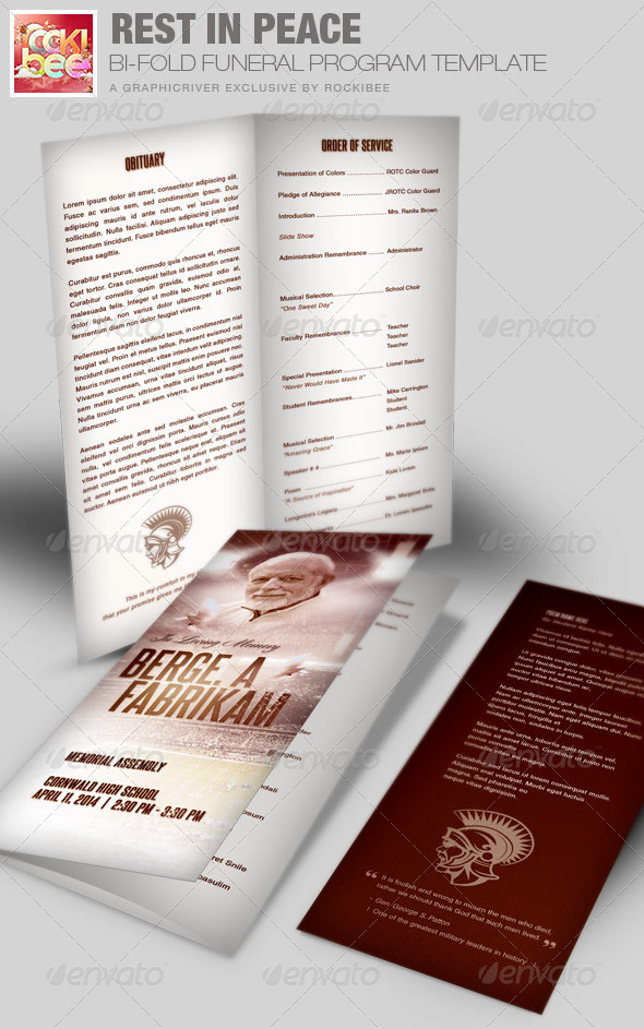 GraphicRiver Rest in Peace Funeral Program Template 7413530