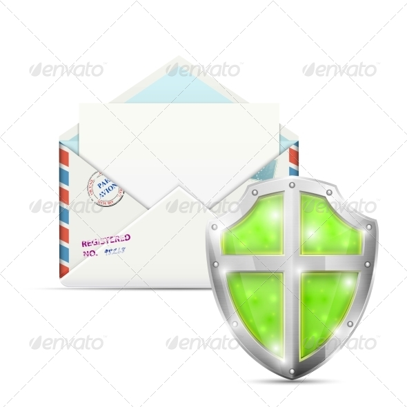 GraphicRiver Open Envelope Protected by Shield 7413968