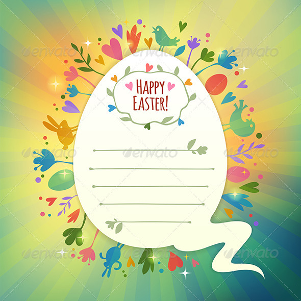 GraphicRiver Retro Easter Card with Symbols of Spring 7320480