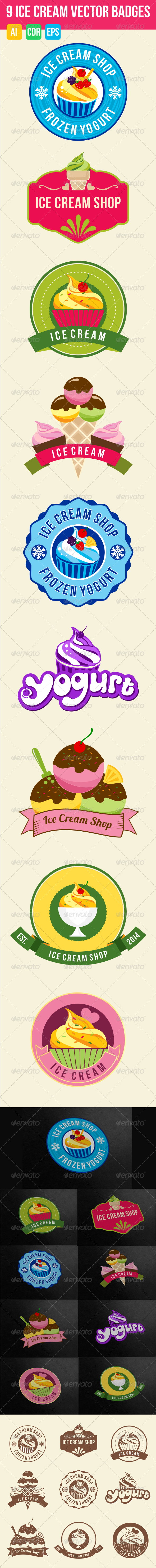 GraphicRiver 9 Ice Cream Badges 7405903