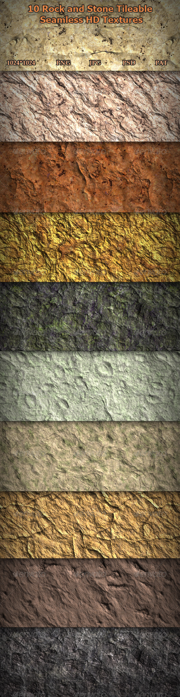 GraphicRiver 10 Rock and Stone Seamless HD Textures 7414518