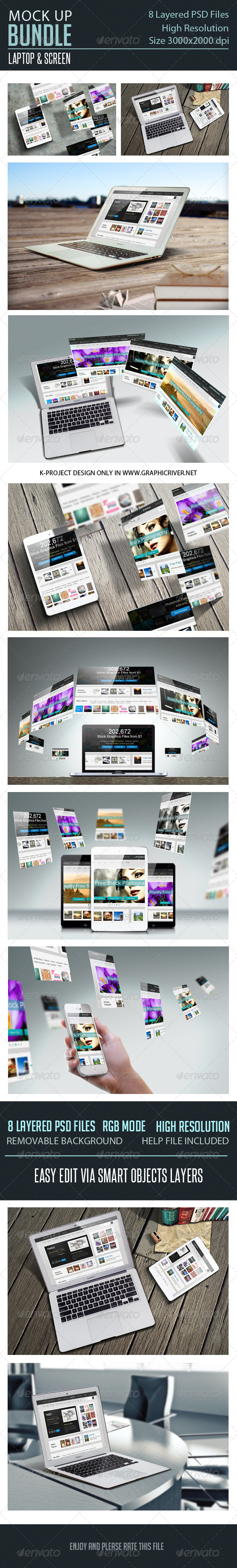 GraphicRiver Laptop Screen Mock Up Bundle 7414723