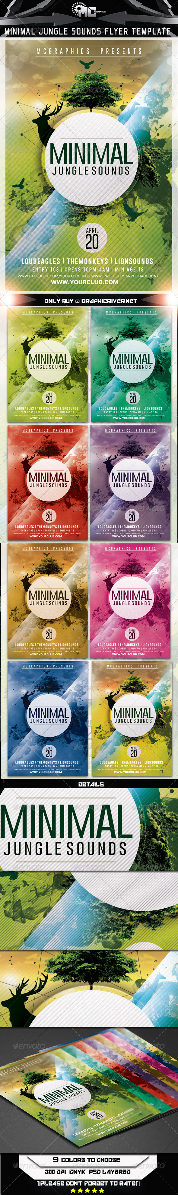 GraphicRiver Minimal Jungle Sounds Flyer Template 7415202