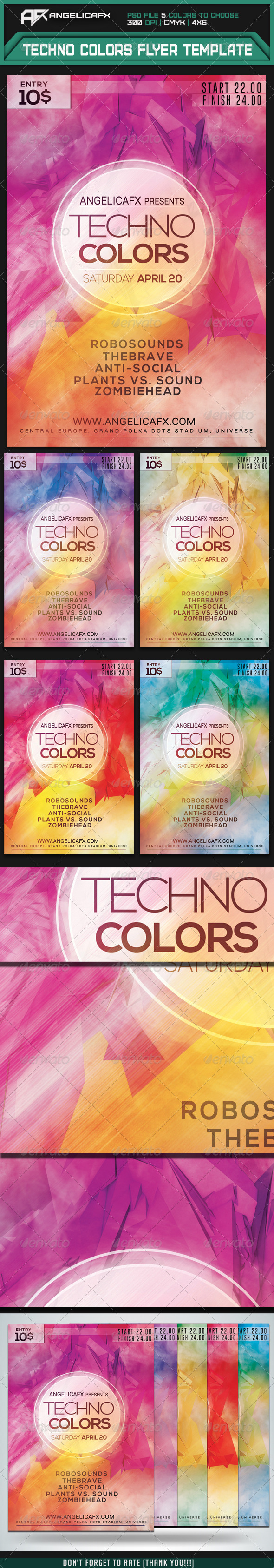GraphicRiver Techno Colors Flyer Template 7415558