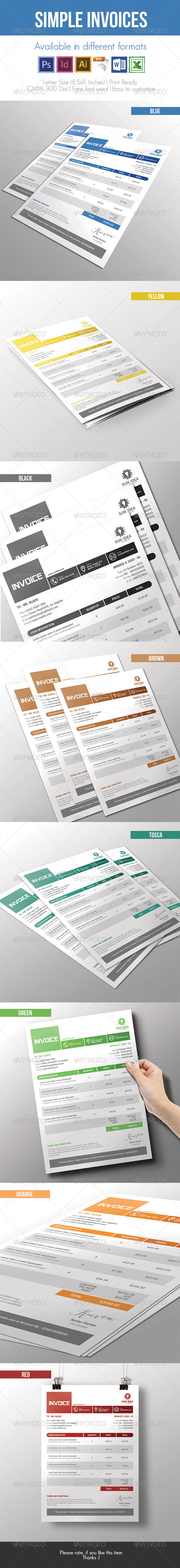 GraphicRiver Simple Invoices 7415564