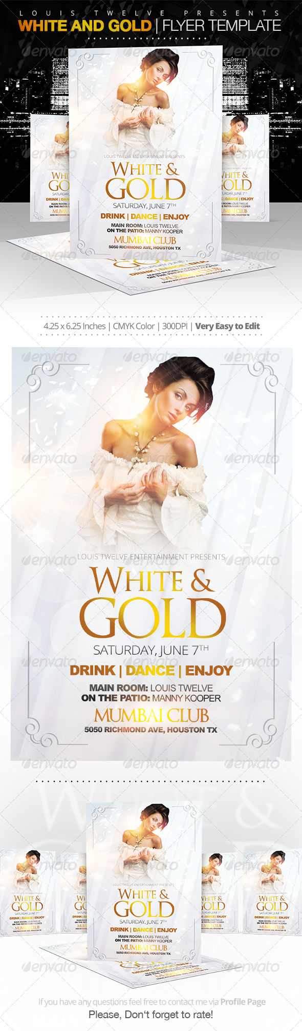 GraphicRiver White and Gold Party Flyer Template 7415784