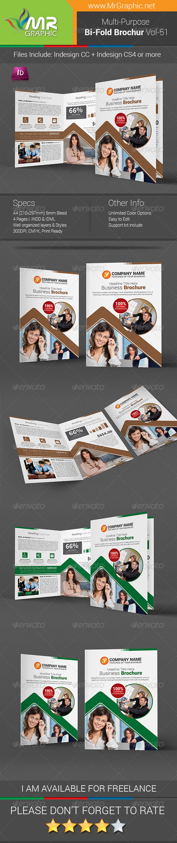 GraphicRiver Multi-Purpose Bi-Fold Brochure Template Vol-51 7415849