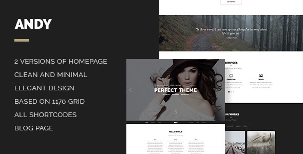 ThemeForest Andy Elegant Creative Minimal Style Onepage PSD 7351873