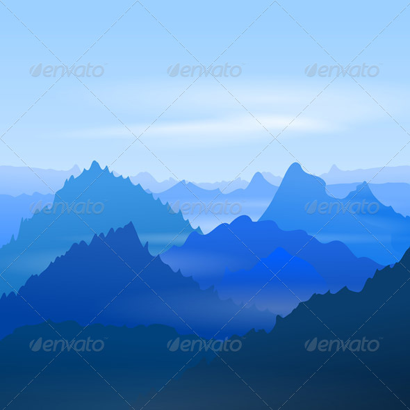 GraphicRiver Majestic Blue Mountains 7416445