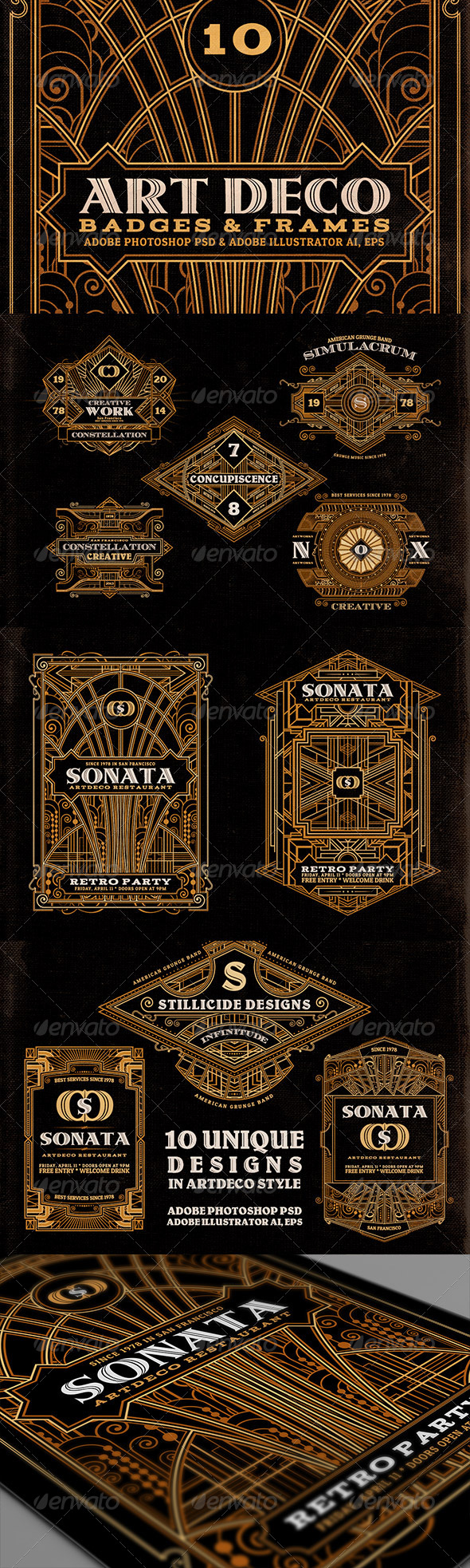 GraphicRiver ArtDeco Badges & Frames 7416724
