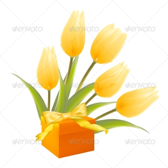 GraphicRiver Gift and Yellow Tulips 7416796