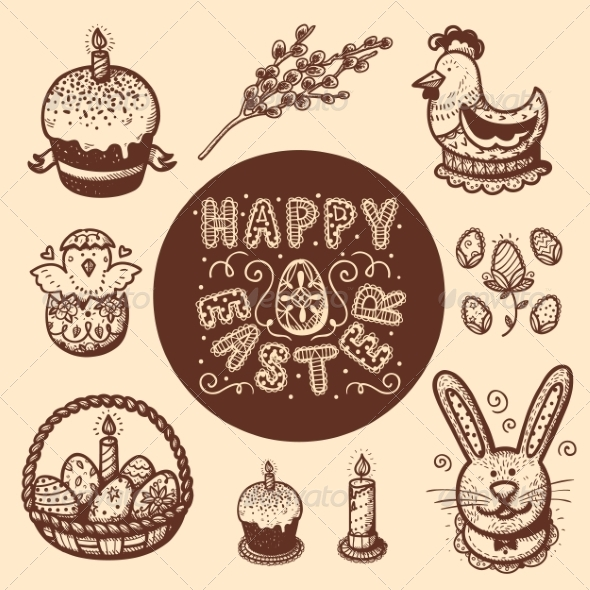 GraphicRiver Easter Objects Vintage Collection 7416837