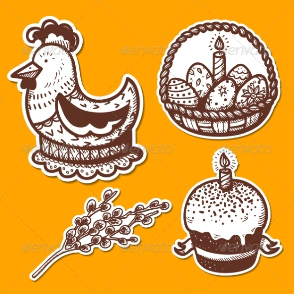 GraphicRiver Easter Objects Sticker Collection 7416849